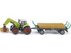 Siku Farmer Traktor s balíkovacím nástavcem a vlekem 1:50