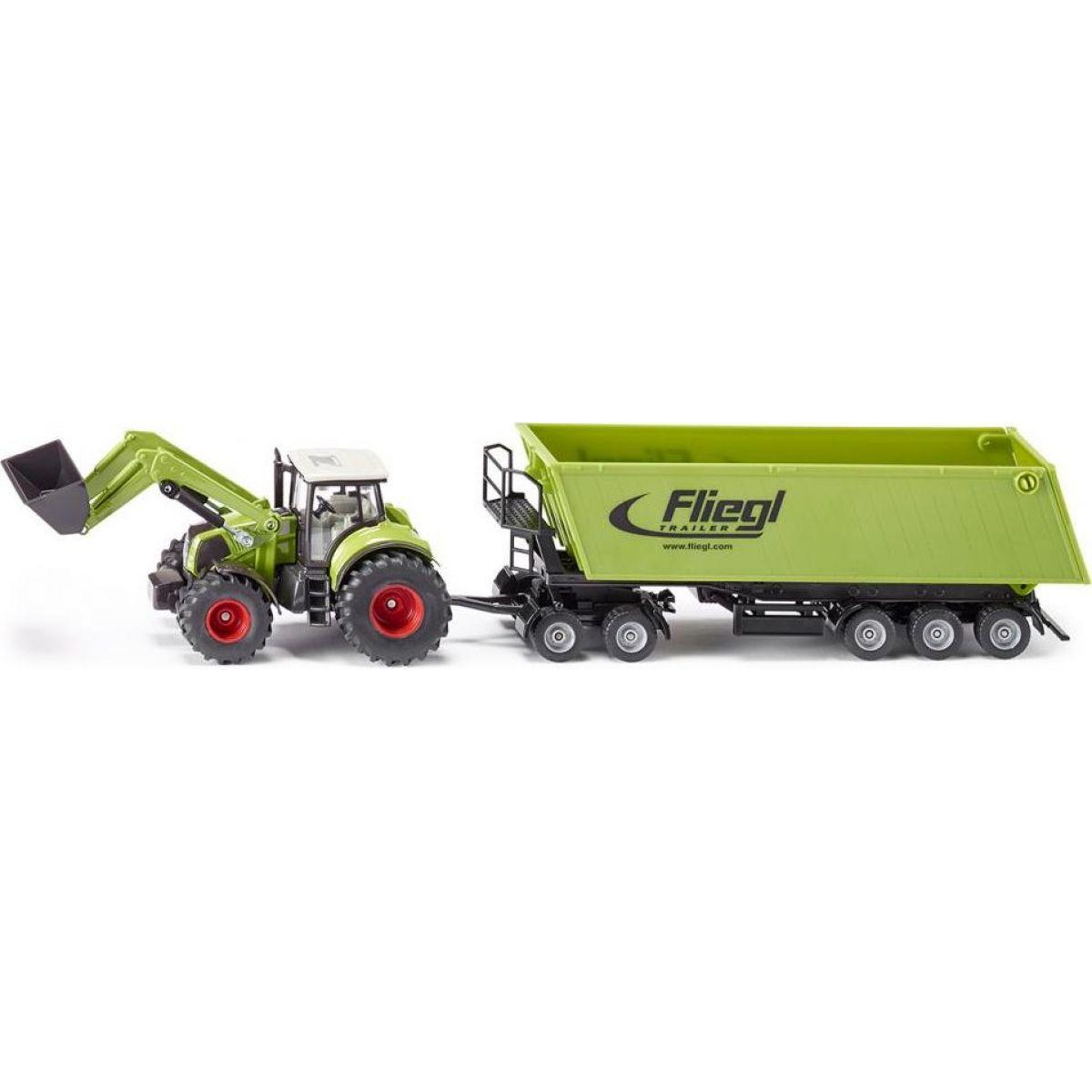 Siku Farmer Traktor s předním nakladačem a přívěsem 1:50