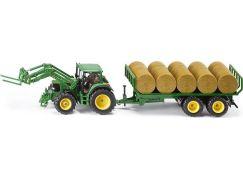Siku Farmer Traktor s přívěsem na kulaté balíky 1:32