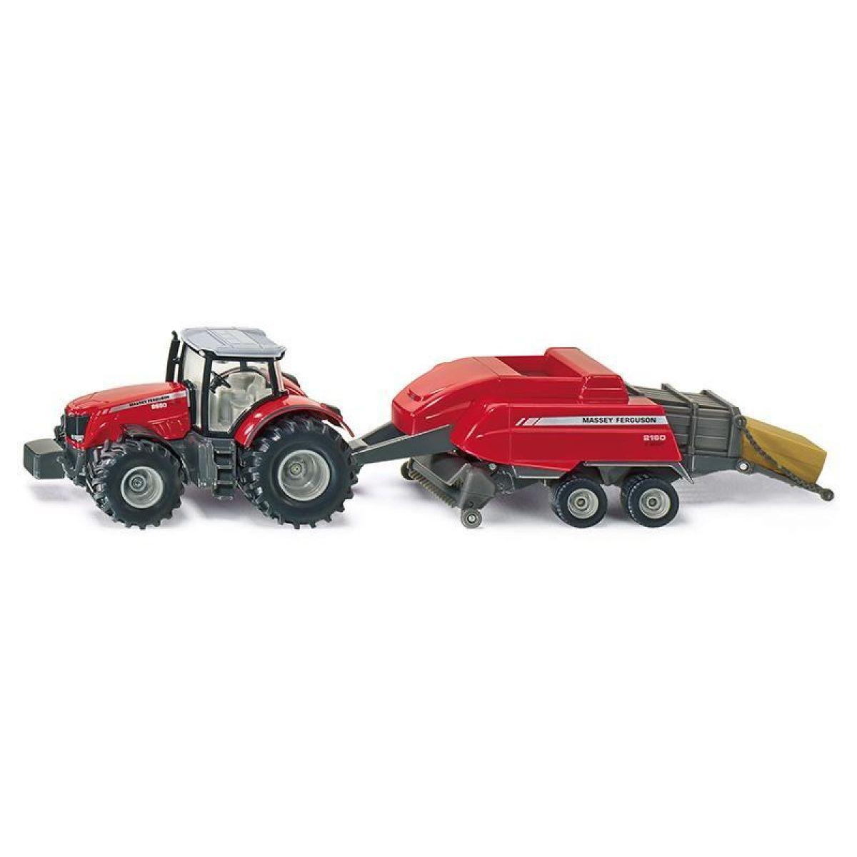 Siku Farmer Traktor Massey Ferguson s vlekem na tvoření balíků 1:50