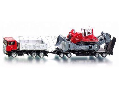 Siku Super 1854 Náklaďák Scania s přívěsem a buldozerem Liebherr PR 764