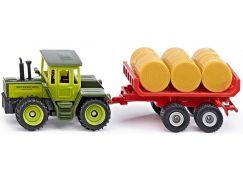 Siku Super MB traktor s vlekem a balíky slámy