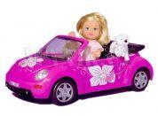 Simba Panenka Evička s autem New Beatle a příslušenstvím