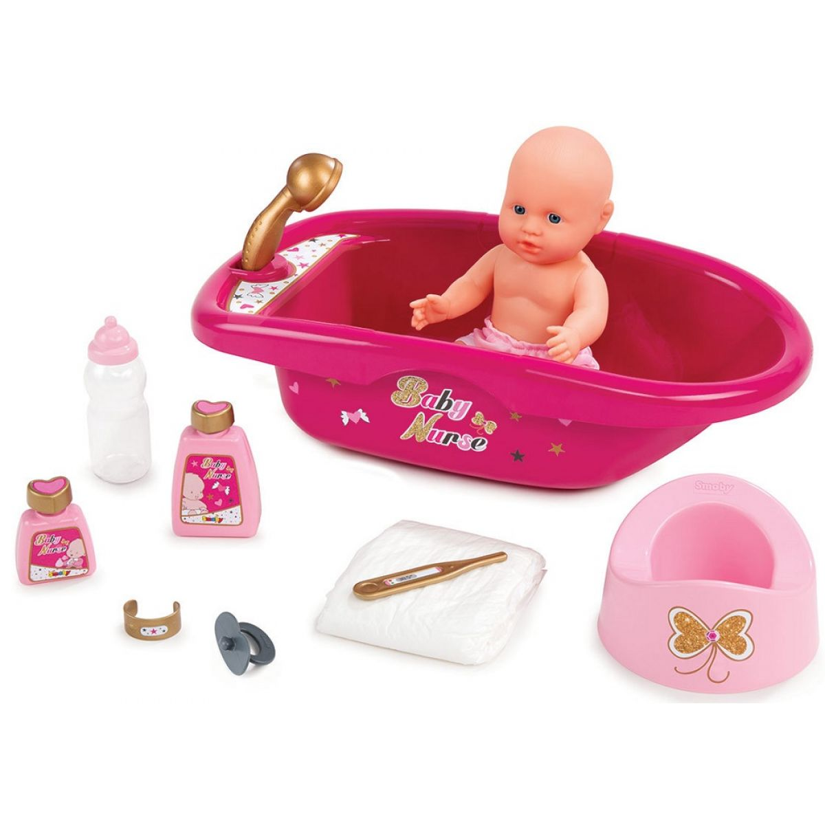 Smoby Baby Nurse Vanička s příslušenstvím růžová