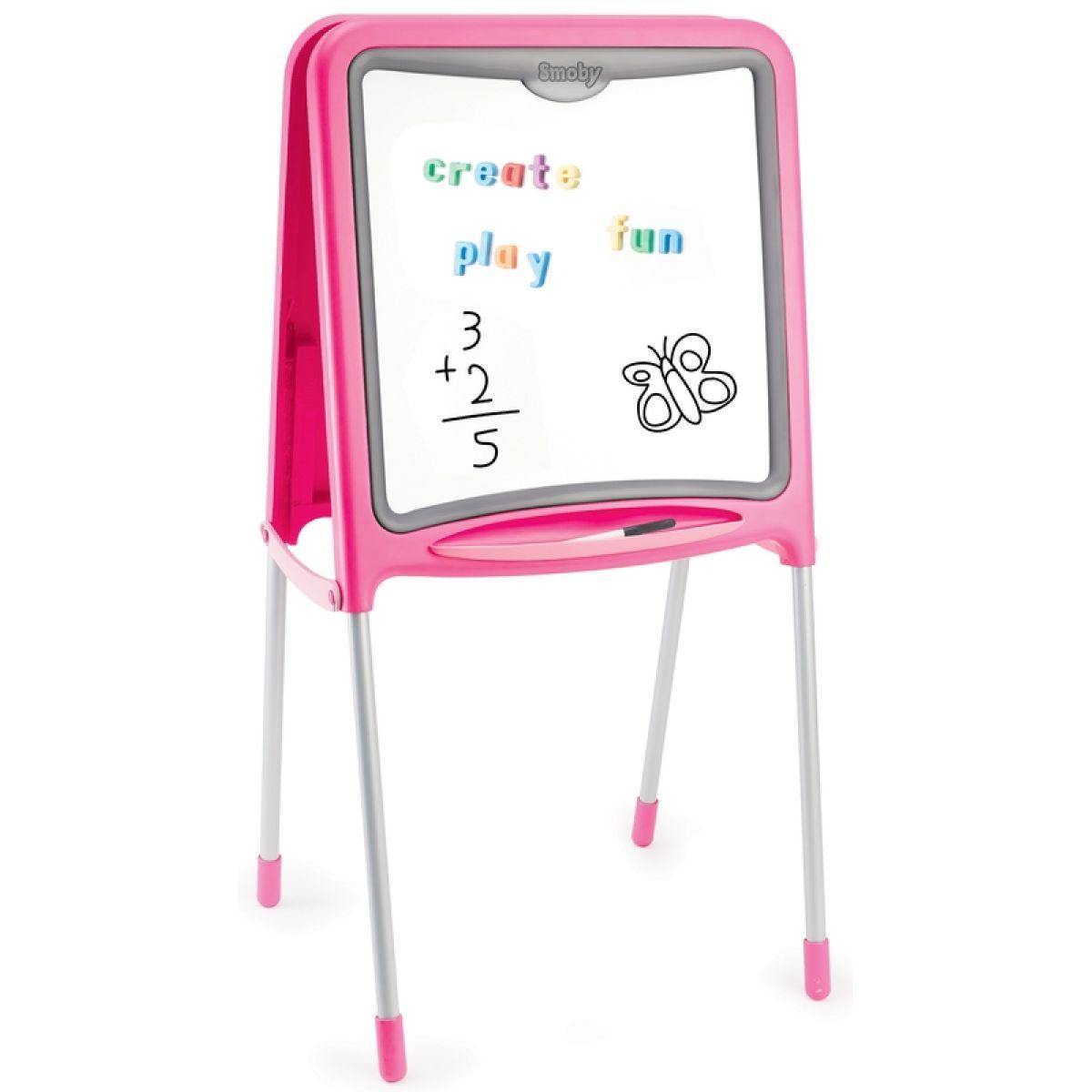 Smoby Kovová stojací tabule 2v1 125cm růžová