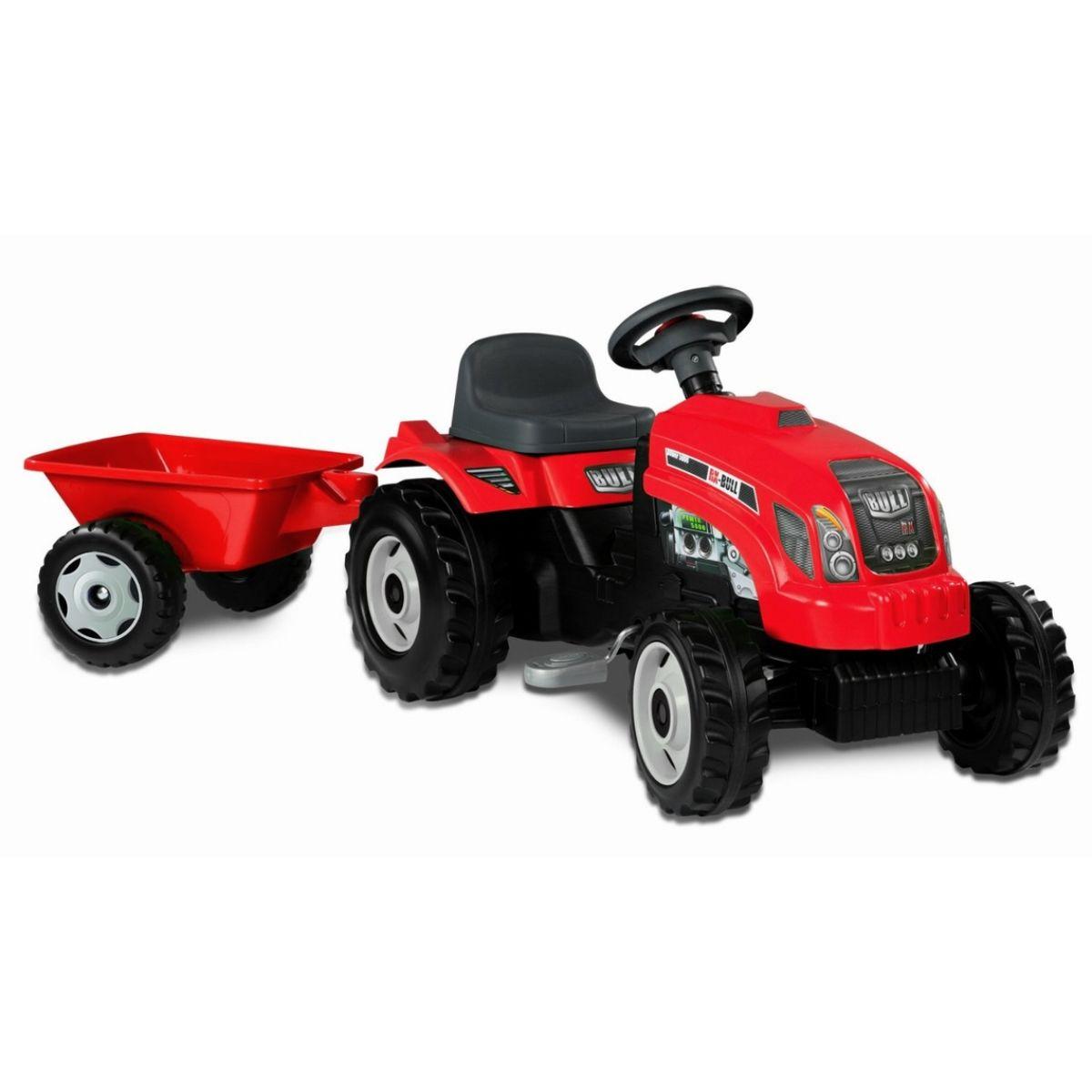 Smoby Šlapací traktor GM Bull červený s vlekem
