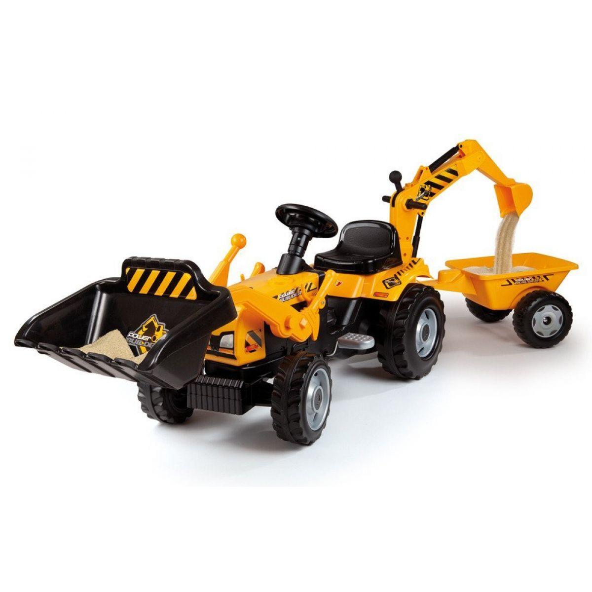 Smoby Šlapací traktor Max s bagrem a vozíkem