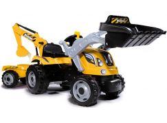 Smoby Šlapací traktor Builder Max s bagrem a vozíkem