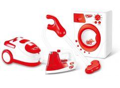 Souprava domácích spotřebičů na baterie žehlička, pračka a vysavač