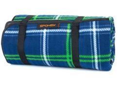 Spokey Picnic Tartana Pikniková deka s popruhem 150 x 180 cm modrá