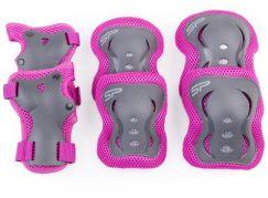 Spokey SHIELD 3-dílná sada dětských chráničů růžové velikost L