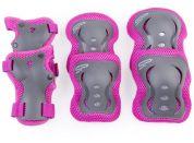 Spokey SHIELD 3-dílná sada dětských chráničů růžové velikost M