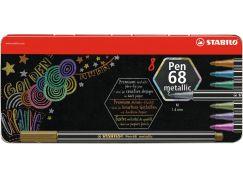 Stabilo Pen 68 metallic 8 ks kovový box