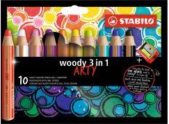 Stabilo woody 3 v 1 barevná pastelka 10 ks pouzdro s ořezávátkem řada Arty