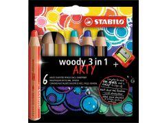 Stabilo woody 3 v 1 barevná pastelka 6 ks pouzdro s ořezávátkem řada Arty