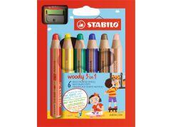 Stabilo woody 3 v 1 barevná pastelka 6 ks pouzdro s ořezávátkem