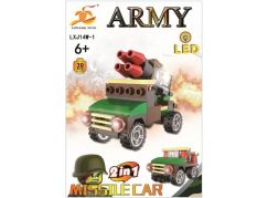 Stavebnice Armáda s LED kostkou 2v1 - Missile Car
