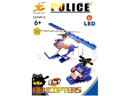 Stavebnice Policie s LED kostkou 2v1 - Helicopters