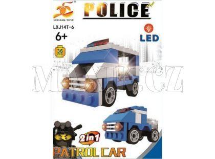 Stavebnice Policie s LED kostkou 2v1 - Patrol Car