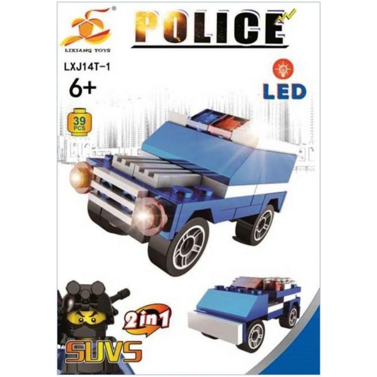 Stavebnice Policie s LED kostkou 2v1 - SUVS