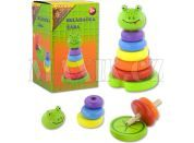 Studo Wood Skládačka barevné kroužky - Žába