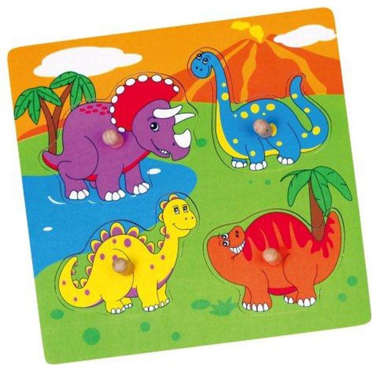 Studo Wood Vkládačka dinosaurus 4 díly