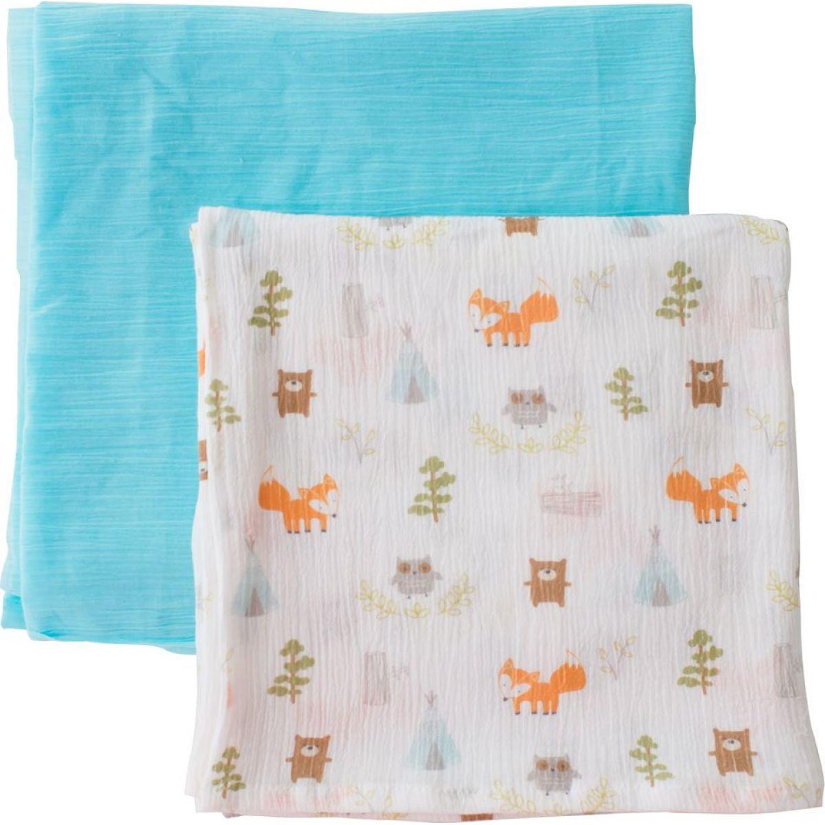 Summer Infant SwaddleMe mušelínová přikrývka 2ks modrá lesní motiv