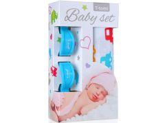 T-tomi Baby set: Bambusová BIO osuška auta + kočárkový kolíček modrý