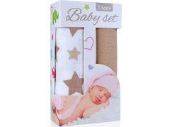 T-tomi Baby set: Bambusová BIO osuška béžové hvězdičky + Bambusová osuška béžová