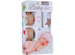 T-tomi Baby set: Bambusová BIO osuška béžové hvězdičky + kočárkový kolíček béžový