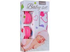 T-tomi Baby set: Bambusová BIO osuška srdíčka + kočárkový kolíček růžový