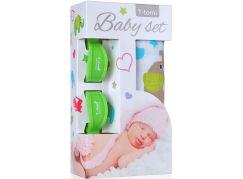 T-tomi Baby set: Bambusová BIO osuška zelení sloni + kočárkový kolíček zelený