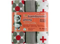 T-tomi Bambusové BIO pleny, sada 3 ks, červené kuličky