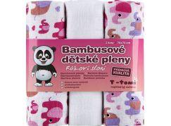 T-tomi Bambusové BIO pleny, sada 3 ks, růžoví sloni