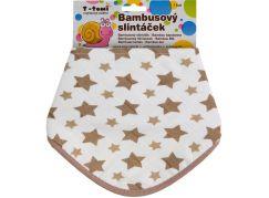 T-tomi Bambusový BIO slintáček, 1 ks, béžové hvězdičky