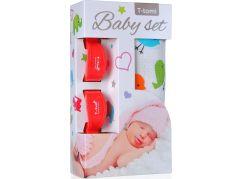 T-tomi Baby set: Bambusová BIO osuška ptáčci + kočárkový kolíček červený