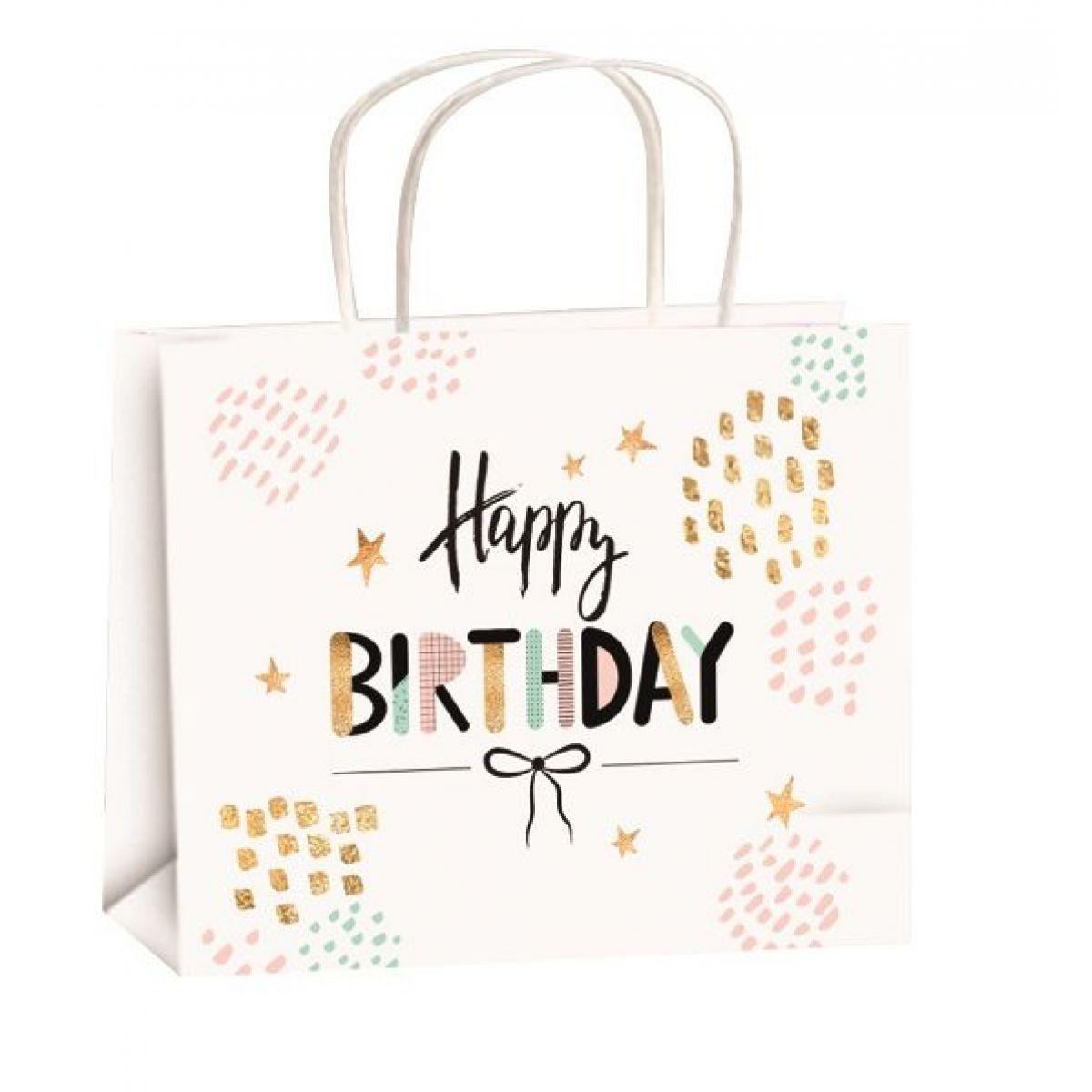 Taška narozeninová zlatá ražba M horizont 23x18x10cm Happy Birthday