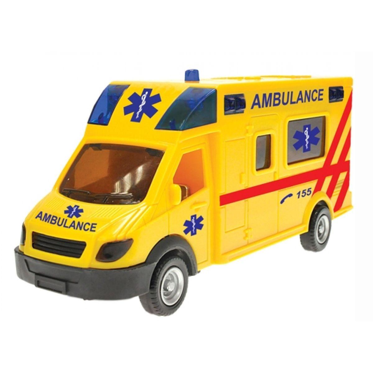 Teddies Auto - Ambulance na zpětné natažení se světly a zvuky