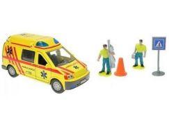 Teddies Auto ambulance kov 13cm s postavičkami