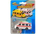 Teddies Auto ambulance kov 7cm Bílá