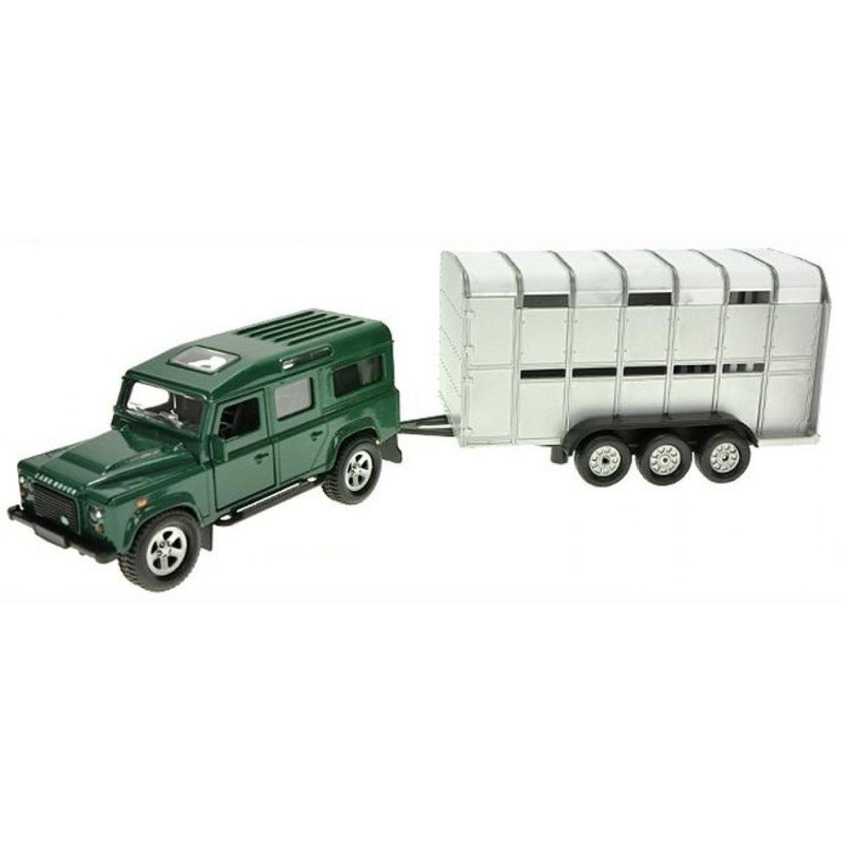 Teddies Auto Land Rover Defender s přívěsem na zpětné natažení
