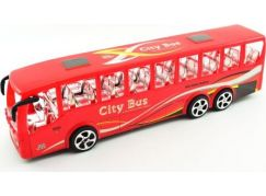 Teddies Autobus plast 36 cm na setrvačník Červený