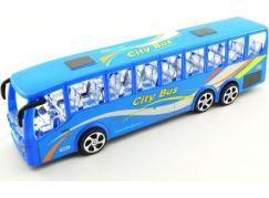 Teddies Autobus plast 36 cm na setrvačník Modrý