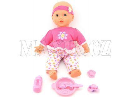 Teddies Dýchající panenka s doplňky - Růžové kalhoty