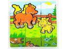 Teddies Dřevěné kostky - Moje první zvířátka 9ks 2