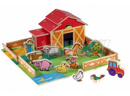 Teddies Domeček dřevěná farma se zvířátky