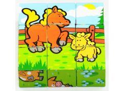 Teddies Dřevěné kostky - Moje první zvířátka 9ks