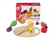 Teddies Dřevěné Ovoce krájecí s prkénkem 17 ks