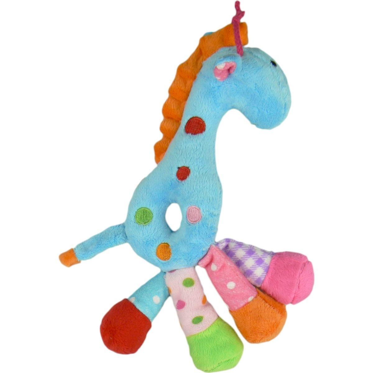 Teddies Žirafa chrastítko plyš 25cm - Modrá
