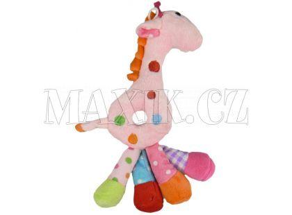 Teddies Žirafa chrastítko plyš 25cm - Růžová